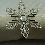 12 sztuk / zestaw 1.77 cal metalowy płatek śniegu pierścień na serwetki stołowe przechowywania