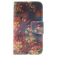 Для Кейс для  Samsung Galaxy Кошелек / Бумажник для карт / со стендом / Флип Кейс для Чехол Кейс для Цветы Искусственная кожа Samsung S5