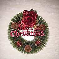 abordables Adornos de Navidad-1pc navidad pino agujas guirnalda (rojo) decoraciones de navidad