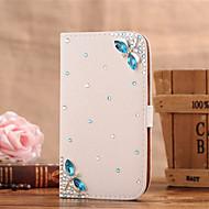 Недорогие Чехлы и кейсы для Galaxy S6 Edge Plus-Кейс для Назначение SSamsung Galaxy Кейс для  Samsung Galaxy Бумажник для карт Стразы Флип Чехол Бабочка Кожа PU для S7 edge S7 S6 edge