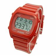 Недорогие Мужские часы-Муж. Наручные часы Цифровой Будильник Календарь Секундомер ЖК экран Pезина Группа Кулоны Белый Синий Красный Зеленый