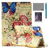Χαμηλού Κόστους Θήκες/Καλύμματα για iPad-lexy® ρετρό μοτίβο πεταλούδα σφραγίδα pu δέρμα αναστροφή υπόθεση περίπτερο με προστατευτικό οθόνης και γραφίδα για το iPad mini 4