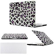"""2 in 1 zwart / paars luipaard hard plastic beschermhoes voor macbook pro 13 """"/ 15"""" met transparante afdekking van het toetsenbord"""