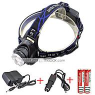 568-T6 01 Stirnlampen Schweinwerfer LED 2000 lm 3 Modus Cree XM-L T6 inklusive Ladegeräten Zoomable- einstellbarer Fokus Wiederaufladbar