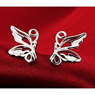 お買い得  -女性用 スタッドピアス - 純銀製, シルバー バタフライ, アニマル ファッション, かわいいスタイル シルバー 用途 結婚式 / パーティー / 日常