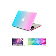 """3 az 1-ben szivárvány színes gumírozott kemény tok fedél + billentyűzet fedél + képernyővédő fólia MacBook Air 11 """"/ 13"""""""