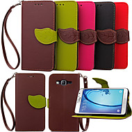 cheap Galaxy J1 Cases / Covers-Case For Samsung Galaxy Samsung Galaxy Case Card Holder Wallet with Stand Flip Full Body Cases Solid Color PU Leather for Young 2 On 7 On