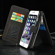 billige -Etui Til Apple iPhone 8 iPhone 8 Plus iPhone 6 iPhone 6 Plus Kortholder Lommebok med stativ Flipp Heldekkende etui Helfarge Hard ekte lær