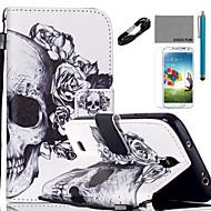 voordelige Galaxy S5 Mini Hoesjes / covers-Voor Kaarthouder / Portemonnee / met standaard / Flip / Patroon hoesje Volledige behuizing hoesje Schedel Hard PU-leer SamsungS5 Mini /