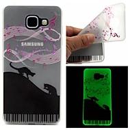 Для Кейс для  Samsung Galaxy Сияние в темноте / Матовое / Полупрозрачный / С узором Кейс для Задняя крышка Кейс для Кот TPU Samsung