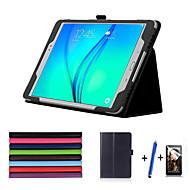 Недорогие Чехлы и кейсы для Galaxy Tab A 9.7-Кейс для Назначение SSamsung Galaxy Вкладка 9,7 со стендом С функцией автовывода из режима сна Флип Чехол Сплошной цвет Твердый Кожа PU