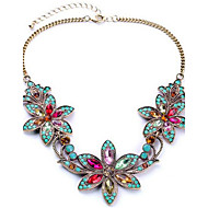cheap Floral Jewelry-Women's Synthetic Diamond Bib Pendant Necklace - Rhinestone Flower European, Colorful, Festival / Holiday Screen Color Necklace Jewelry For Party, Special Occasion, Birthday