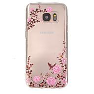 Недорогие Чехлы и кейсы для Galaxy S7-Назначение Samsung Galaxy S7 Edge Чехлы панели Рельефный Задняя крышка Кейс для Цветы Термопластик для SSamsung Galaxy S7 plus S7 edge
