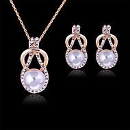 여성 보석 세트 패션 의상 보석 펄 모조 다이아몬드 귀걸이 목걸이 제품 파티 특별한 때 생일 결혼 선물