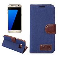 Недорогие Чехлы и кейсы для Galaxy S7-Кейс для Назначение SSamsung Galaxy S8 Plus S8 Бумажник для карт Кошелек со стендом Флип Чехол Сплошной цвет Твердый текстильный для S8