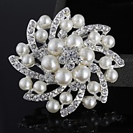 cheap Floral Jewelry-Women's Brooches - Pearl, Imitation Pearl, Silver Plated Flower Luxury, Double-layer, Fashion Brooch Silver For Wedding / Party / Casual / Imitation Diamond