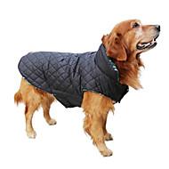 강아지 코트 조끼 겨울 의류 강아지 의류 양면 가능 따뜻함 유지 양면 가능 격자무늬/체크 베이지 브라운 레드 그린 코스츔 애완 동물