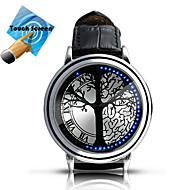 Недорогие Мужские часы-Муж. Смарт Часы Модные часы Цифровой Сенсорный экран LED Кожа Группа Кулоны Разноцветный