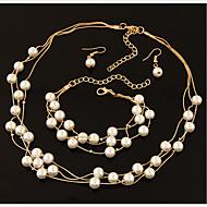 お買い得  -女性用 ジュエリーセット  -  真珠, 人造真珠, ラインストーン エレガント, 結婚式 含める ドロップイヤリング ラップブレスレット パールネックレス ホワイト 用途 結婚式 パーティー / 銀メッキ / イヤリング・ピアス