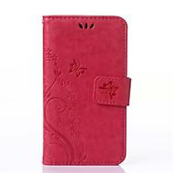 Недорогие Чехлы и кейсы для Galaxy J-Кейс для Назначение SSamsung Galaxy Кейс для  Samsung Galaxy Бумажник для карт Кошелек со стендом Флип Рельефный Чехол Цветы Кожа PU для