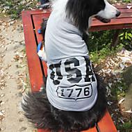 Katzen / Hunde T-shirt Rot / Blau / Grau Hundekleidung Sommer / Frühling/Herbst Amerikaner / USA Modisch