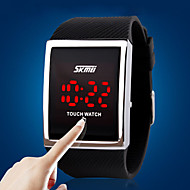 Недорогие Мужские часы-Муж. электронные часы Модные часы Спортивные часы Цифровой Сенсорный экран LED силиконовый Группа Роскошь Серебристый металл