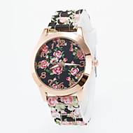Women's European Style Fashion Gold Flower Print Silicone Wrist Watch Cool Watches Unique Watches Strap Watch
