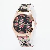 billige Modeure-Dame Quartz Armbåndsur Afslappet Ur Silikone Bånd Blomst Afslappet Mode Mangefarvet