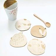 cute zwierząt wydrążone drewniane podstawki kubek kubek sklep pad stół barowy kubek herbaty kawy mat (losowo)