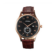 Недорогие Фирменные часы-SINOBI Муж. Наручные часы Календарь / Защита от влаги / Спортивные часы Позолоченное розовым золотом / Кожа Группа Роскошь Коричневый