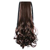 저렴한 -갈색 물 파도 긴 곱슬 머리 가발 스타일 조랑말 꼬리 붕대 피부색