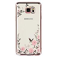 Для Samsung Galaxy Note Стразы / Покрытие / Прозрачный / С узором Кейс для Задняя крышка Кейс для Цветы TPU SamsungNote 5 / Note 4 / Note