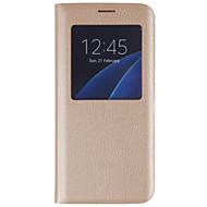 Недорогие Чехлы и кейсы для Galaxy S7-DE JI Кейс для Назначение SSamsung Galaxy Samsung Galaxy S7 Edge с окошком / Флип Чехол Однотонный Твердый Кожа PU для S7 edge / S7 / S6 edge plus
