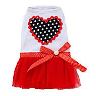 お買い得  -犬 ドレス 犬用ウェア ハート パープル / レッド / ピンク コットン コスチューム ペット用 夏