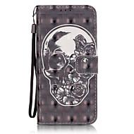 Для Samsung Galaxy S7 Edge Бумажник для карт / Кошелек / со стендом / Флип / С узором Кейс для Чехол Кейс для Череп ТвердыйИскусственная