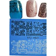 1pcs  New Nails Art Lace Sticker Colorful Image Design Beautiful Lace Flower Manicure Nail Art Tips STZ-V021-25