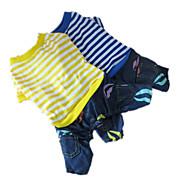 犬 ジャンプスーツ 犬用ウェア 縞柄 イエロー ブルー コットン コスチューム 用途 春 & 秋 男性用 女性用