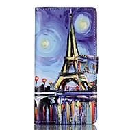 Для Кейс для Huawei / P9 / P9 Lite Кошелек / Бумажник для карт / со стендом / Флип Кейс для Чехол Кейс для Эйфелева башня Твердый