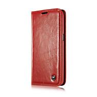Para Funda Samsung Galaxy Soporte de Coche / Cartera / con Soporte / Flip Funda Cuerpo Entero Funda Un Color Cuero Sintético SamsungS6