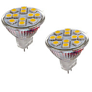 2W GU4(MR11) LED Bi-Pin lamput MR11 12 ledit SMD 5050 Koristeltu Lämmin valkoinen Kylmä valkoinen 150-200lm 3000-3500/6000-6500K DC 12V