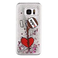 Для Samsung Galaxy S7 Edge Движущаяся жидкость / Прозрачный / С узором Кейс для Задняя крышка Кейс для С сердцем Твердый PC SamsungS7