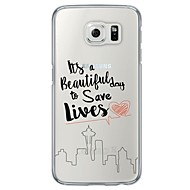 Недорогие Чехлы и кейсы для Galaxy S7 Edge-Кейс для Назначение SSamsung Galaxy Samsung Galaxy S7 Edge Ультратонкий Полупрозрачный Кейс на заднюю панель Слова / выражения Мягкий ТПУ