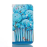 Недорогие Чехлы и кейсы для Galaxy S6 Edge Plus-Кейс для Назначение SSamsung Galaxy Кейс для  Samsung Galaxy Бумажник для карт со стендом Флип С узором Чехол дерево Мягкий Кожа PU для