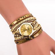 halpa Hippityyliset kellot-Naisten Muotikello Rannekello Rannerengaskello Quartz Värikäs PU Bändi Vintage Vapaa-aika Matta musta Boheemi Tyylikäs Musta  Valkoinen