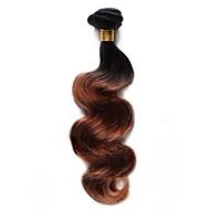 Натуральные волосы Индийские волосы Омбре Естественные кудри Наращивание волос 1 шт. Черный / Medium Auburn