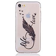 Недорогие Кейсы для iPhone 8 Plus-Кейс для Назначение Apple iPhone X iPhone 8 iPhone 6 iPhone 7 Plus iPhone 7 Прозрачный С узором Рельефный Кейс на заднюю панель  Перья