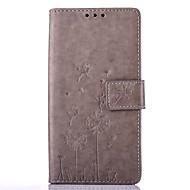 Для Кейс для  Samsung Galaxy Бумажник для карт / Матовое / Рельефный Кейс для Чехол Кейс для Одуванчик Твердый Искусственная кожа Samsung