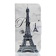 Для Кейс для  Samsung Galaxy Кошелек / Бумажник для карт / со стендом / Флип / Рельефный / С узором Кейс для Чехол Кейс для Эйфелева башня