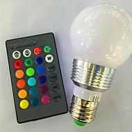 abordables Bombillas LED Inteligentes-1pc 3 W 120 lm E26 / E27 Bombillas LED Inteligentes A60(A19) 1 Cuentas LED LED de Alta Potencia Regulable / Control Remoto / Decorativa RGB 85-265 V / 1 pieza / Cañas