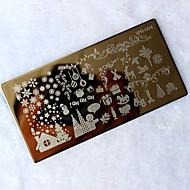 abordables Estampados de Uñas-1pc navidad del clavo de DIY sello de imagen plantilla de la manicura placa de estampación que estampa la impresión de transferencia de